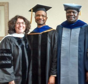 (L-R) Dr. Karen Sotiropoulos (Director of Graduate Studies), Dr. Gregory Conerly and Dr. Meshack Owino